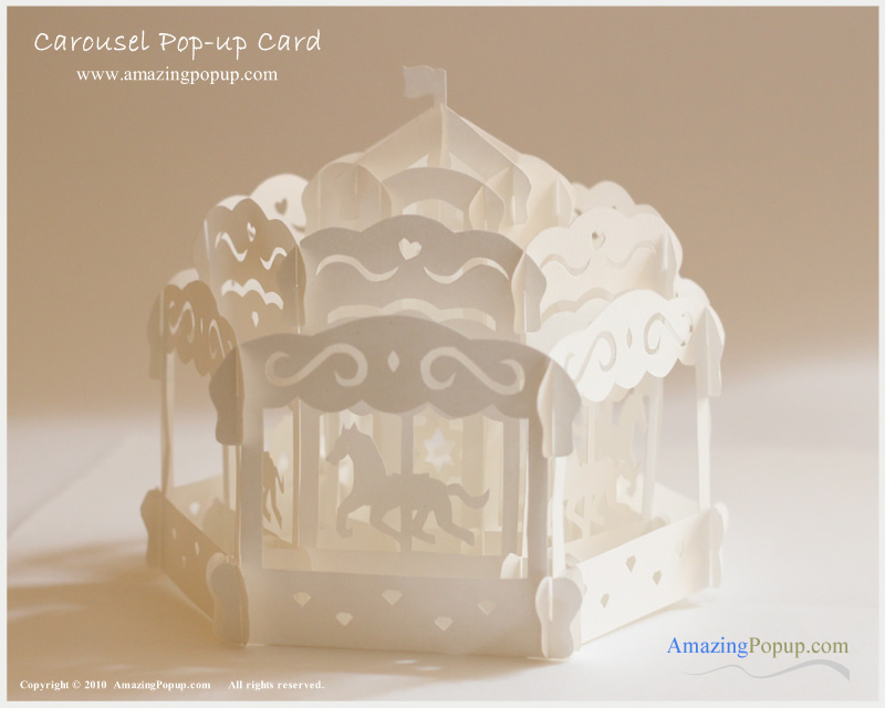 New happy birthday merry go round greeting cards with envelopes.